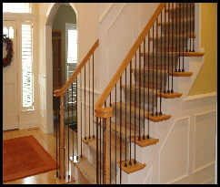 Wrought Iron & Oak Staircase